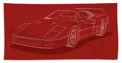 Ferrari F40 - White Blueprint On Red Beach Sheet