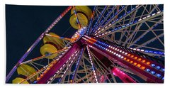 Ferris Wheel At Night Beach Towel