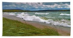 Field Of Green On Lake Superior Beach Towel