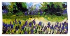 Field Of Irises Beach Towel