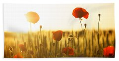 Field Of Poppies At Dawn Beach Sheet