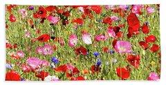 Field Of Red Poppies Beach Towel