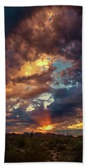 Finger Painted Sunset Beach Towel