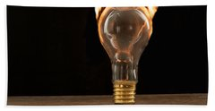 Fire And Flames Ignited Out Of Light Bulb Beach Towel