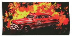Vintage Fire Truck Photographs Beach Towels