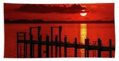 Fireball And Pier Sunrise Beach Towel