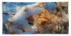 Beach Towel featuring the photograph First Snow, Leaves And Light by Tatiana Travelways