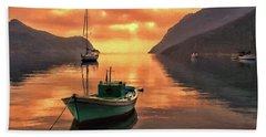 Fishing Boats At Sunset Simi Greek Islands-dwp40406001 Beach Towel