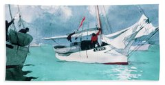 Fishing Boats, Key West - Digital Remastered Edition Beach Towel