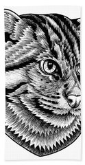 Fishing Cat  Ink Illustration Beach Towel