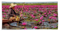 Fishing In The Red Lotus Lake Beach Towel