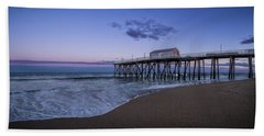 Beach Towel featuring the photograph Fishing Pier Sunset by Steve Stanger