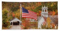 Flag Flying Over The Stark Covered Bridge Beach Sheet