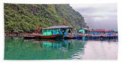 Floating Market In Halong Bay, Vietnam Beach Towel