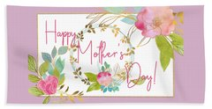 Floral Mother's Day Art Beach Towel