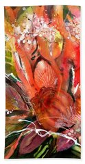 Flower Bouquet With Poppy Seed Pods Beach Towel