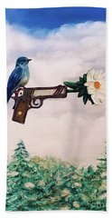Flower In A Gun- Bluebird Of Happiness Beach Towel
