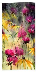 Flowers In The Rain Beach Towel