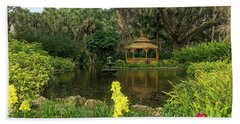 Flowers To Gazebo By The Lake Beach Towel