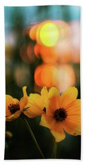 Flowery Bokeh Sunset Beach Towel