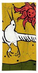 Flying Bird And Red Sun Face Beach Towel