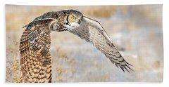 Flying Great Horned Owl Beach Towel