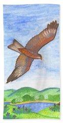 Flying Hawk Beach Towel