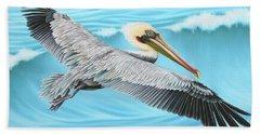 Flying Pelican Beach Towel