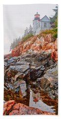 Foggy Bass Harbor Lighthouse Beach Towel