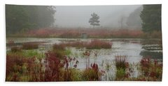 Foggy Morning At Cloverdale Farm Beach Sheet