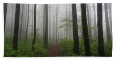 Foggy Spring Forest Beach Towel