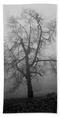 Foggy Tree In Black And White Beach Towel