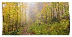 Foggy Winsor Trail Aspens In Autumn 2 - Santa Fe National Forest New Mexico Beach Towel
