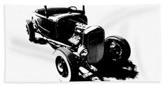 Ford Flathead Roadster Two Blk Beach Towel