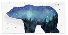 Forest Bear Watercolor Galaxy Beach Towel