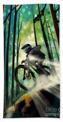 Forest Jump Mountain Biker Beach Towel