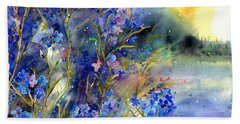 Forget-me-not Watercolor Beach Towel