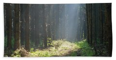 Beach Towel featuring the photograph Forrest And Sun by Anjo Ten Kate