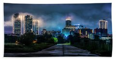 Beach Towel featuring the photograph Fort Worth Lights by David Morefield