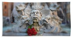 Fountain Of The Pantheon Beach Towel