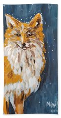 Beach Towel featuring the painting Fox Winter Night by Maria Langgle