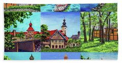 Frankenmuth Downtown Michigan Painting Collage IIi Beach Towel