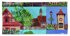 Frankenmuth Downtown Michigan Painting Collage V Beach Towel