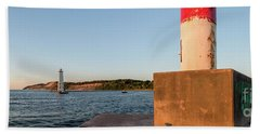 Frankfort North Breakwater Lighthouse And Light Station Beach Towel