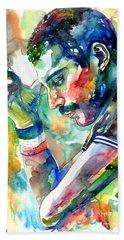 Freddie Mercury With Cigarette Beach Towel