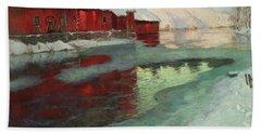 Freezing River, 1897 Beach Towel