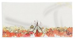 Freiberg Roofs -  Watercolor By Ahmet Asar Beach Towel