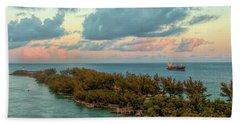Freighter Off Paradise Island Beach Sheet
