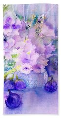 Fresh Figs And Orchids Still Life Beach Towel