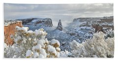 Fresh Snow At Independence Canyon Beach Towel